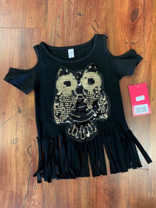 Owl Cold Shoulder Top - 50% Off