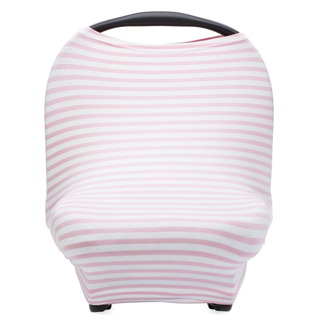 Pink and White Striped Car Seat Cover