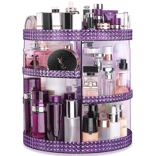 Awenia Makeup Organizer 360-Degree Rotating, Adjustable Multi-Function Makeup Storage, 7 Layers Large Capacity Cosmetic Storage Unit, Fits Different Types of Cosmetics Plus Size Purple