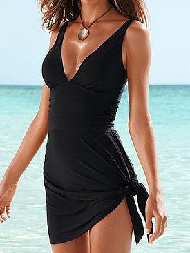 One-Piece Slimming Swim Dress  **PLUS SIZES to 3XL**