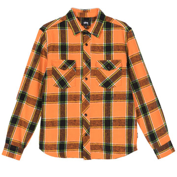 STUSSY-ACE PLAID LS SHIRT-ORNG