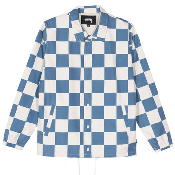 STUSSY-CHECKER COACH JACKET-SLATE