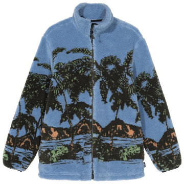 STUSSY-HAWAIIAN JACQUARD MOCK FLEECE-BLUE