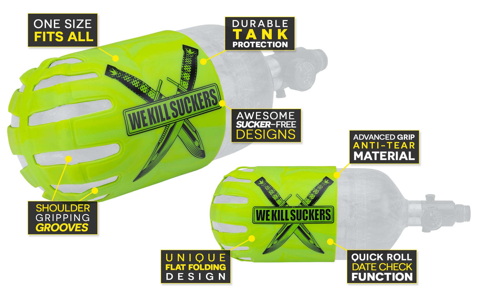 Bunker Kings Knuckle Butt WKS Knives Lime Features