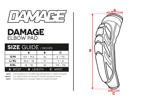Size Guide Damage Elbow Pads