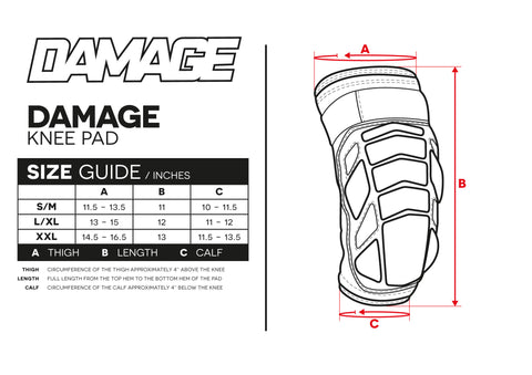 Size Guide Damage Knee Pad