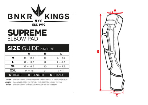 Size Guide Supreme Elbow Pads