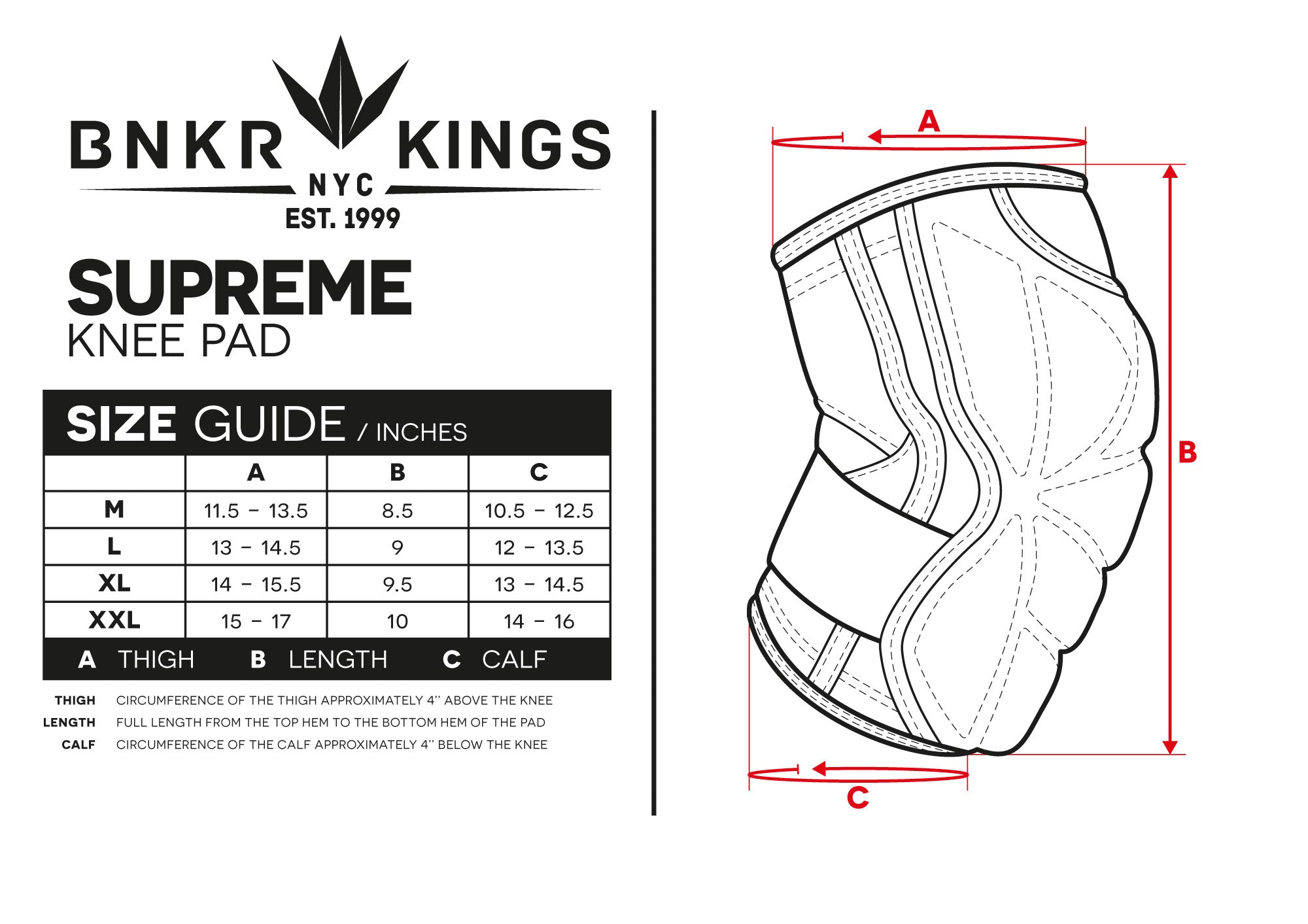 220d89049f Size Guide Supreme Knee Pads