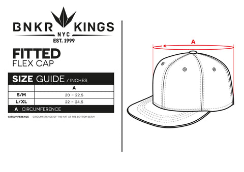 Size Guide Fitted Bunker Kings Cap