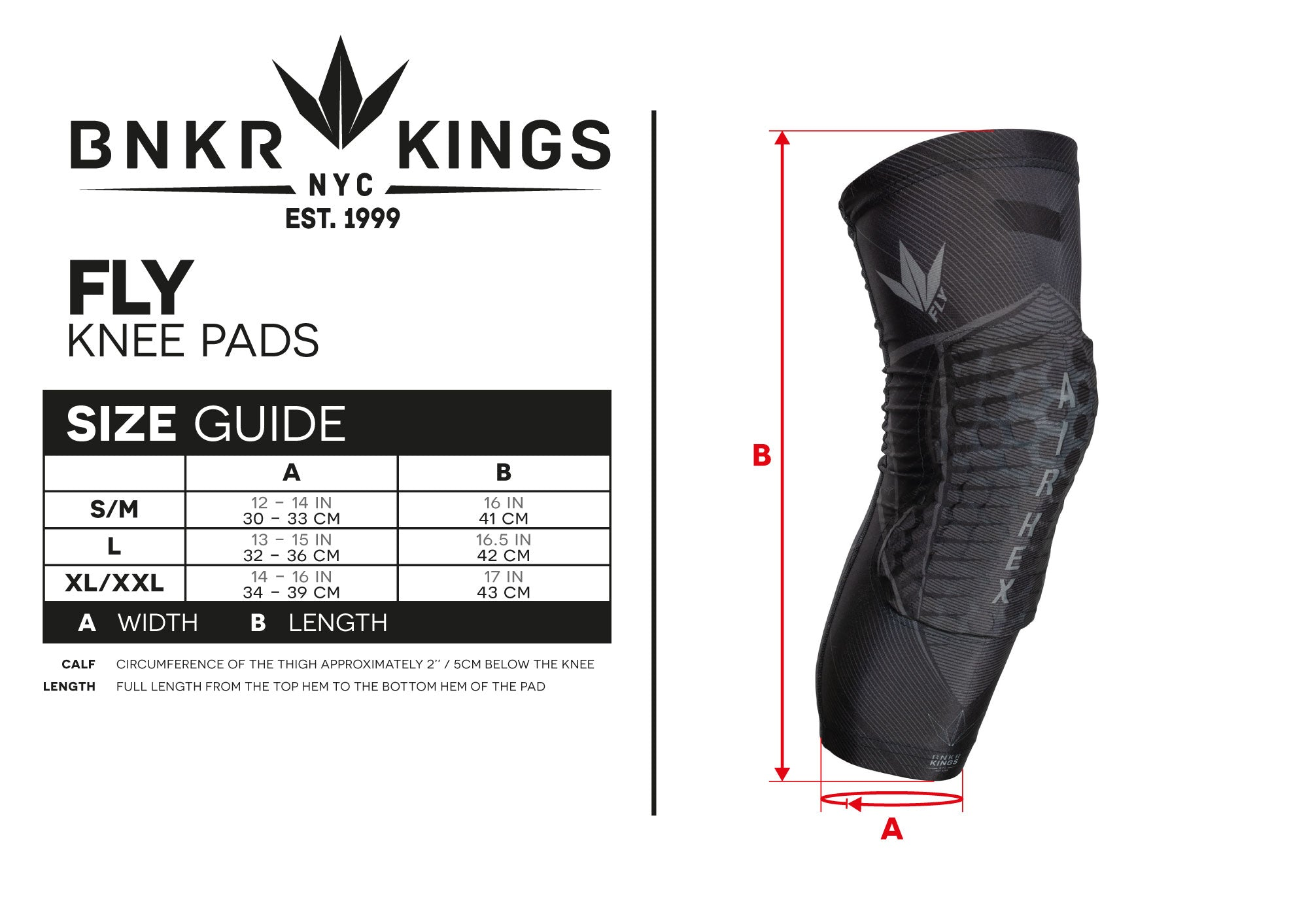 Size Guide Fly Knee Pads