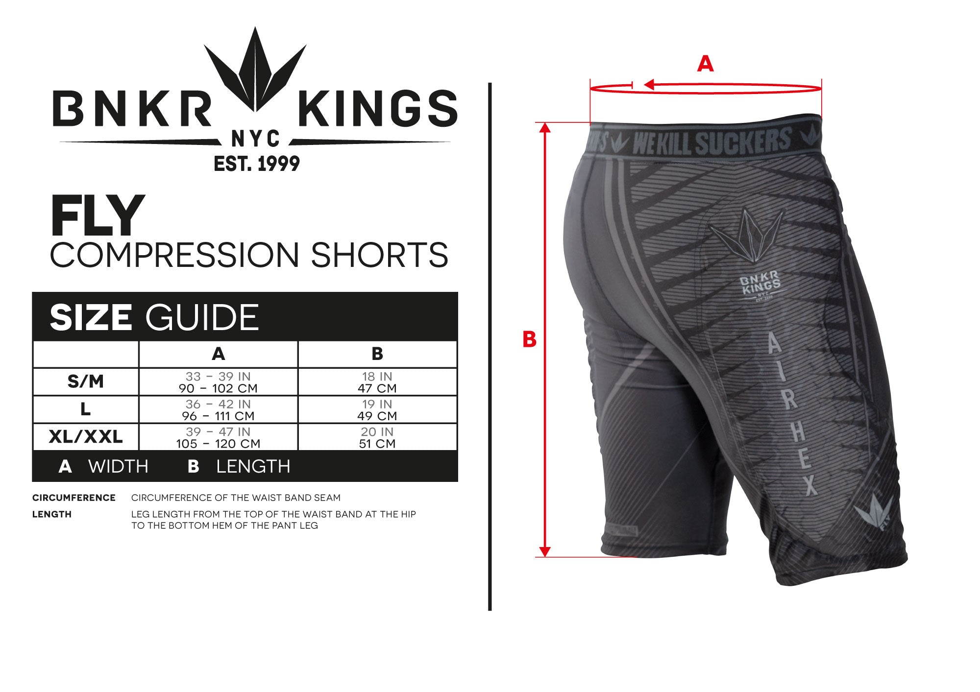 Size Guide Compression Shorts