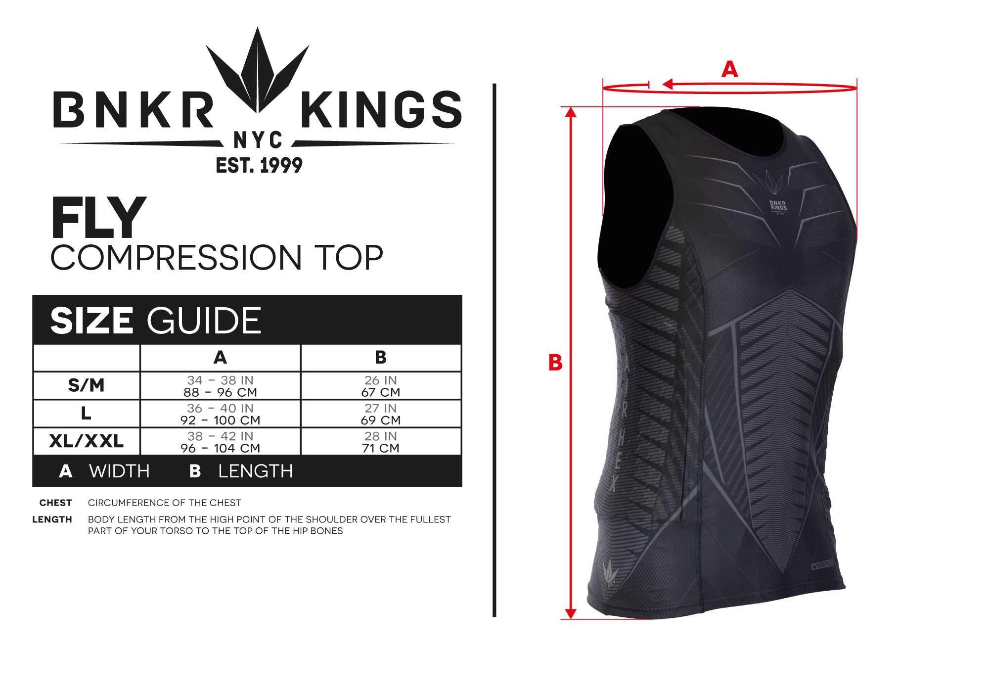 Size Guide Fly Compression Top