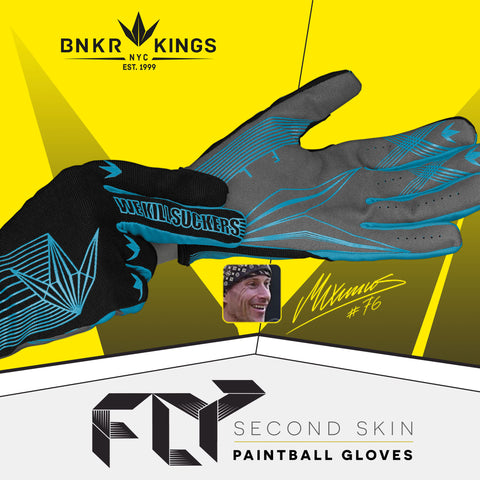 Bunkerkings Fly Paintball Gloves - Cyan