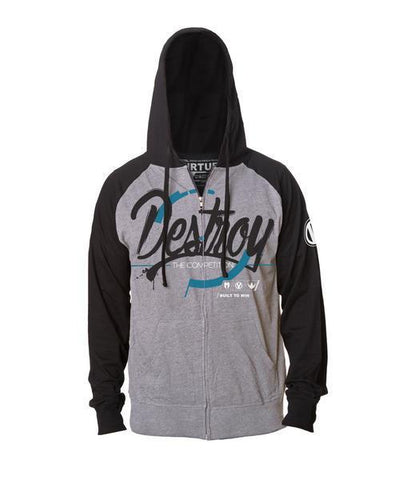 Virtue Destroy Lightweight Zip Hoodie - Gunmetal/Charcoal - Medium