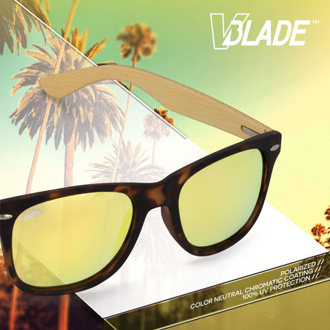 Virtue V-Blade Polarized Sunglasses - Bamboo Gold Tortoise