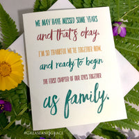 Reunited Family, Forgiveness Card, Mothers Day, Fathers Day, Just Because Card, grease and grace, family card, birth parent, adoption