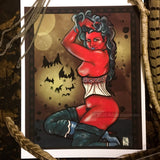 A red devil woman in a corset with gonzo style bats in the night