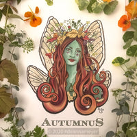Autumnus, Fairy themed fine art print with a nature theme. Details feature locust fairy wings and various plants and herbs. Artist Deanna Meyer of Grease and Grace.