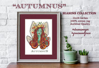 Autumnus, Fairy themed fine art print with a nature theme. Details feature locust fairy wings and various plants and herbs.