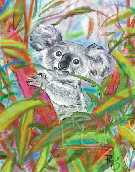 Koala illustration, looking out of tree eating, vibrant greens and pinks