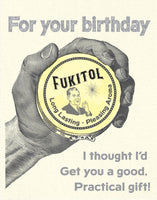 fukitol, birthday, birthday card, card for him, grease and grace, greeting card, mid century modern, rockabilly, vintage inspired, 1950s, greeting card shop