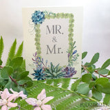 grease and grace, greeting cards, wedding card, mr and mrs card, botanical, succulents, country wedding, bohemian, boutique, cards online, lgbt, lgbt wedding, lgbt wedding card, gay wedding, gay wedding card, Mr & Mr, lesbian wedding, Mrs & Mrs, pride wedding, pride