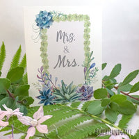 grease and grace, greeting cards, wedding card, mr and mrs card, botanical, succulents, country wedding, bohemian, boutique, cards online, lgbt, lgbt wedding, lgbt wedding card, gay wedding, gay wedding card, Mr & Mr, lesbian wedding, Mrs & Mrs