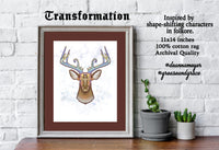 "TRANSFORMATION - 11x14"" on 11x17"", Fantasy, Nature-Inspired, Shape Shifting, Mythology, Folklore, Totemism, Fine Art Archival Quality Print"