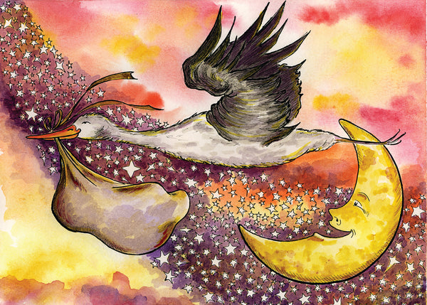 "Nursery Decor ""THE STORK"" 5x7"" Celestial, Fantasy, Stars, Baby, Baby Shower, Gender Neutral - Watercolor Print"