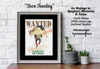 Taco Tuesday fine art print. A Taco cartoon holds a hot sauce gun while stealing limes