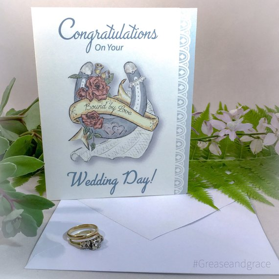 grease and grace, greeting cards, card, cards, wedding card, wedding congratulations, wedding congrats, wedding gift, gift shop, card shop, something blue, card for bride, bridal shower, mid century modern, 1950s inspired, vintage inspired, retro, boutique