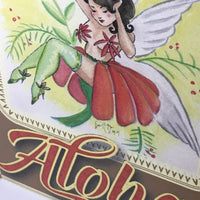 aloha, greeting cards, grease and grace, thinking of you card, friendship card, correspondence card, pen pal, hawaiian art, tiki art, fairy art, rockabilly art, pinup art