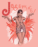 Pink, purple and red drawing rendition of Josephine Baker.