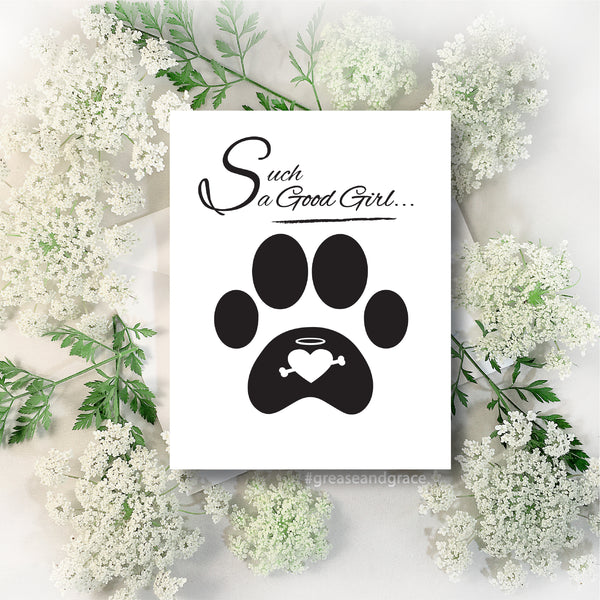 Sympathy Card, Pet Loss, Grieving, Condolences Card- Female Dog