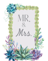 mr and mrs, mr and mrs card, wedding card, succulents, country wedding, southern wedding, bohemian wedding, botanical wedding, rustic wedding, wedding card, card for the bride, card for the groom, wedding day card, greeting cards, grease and grace, boutique shop, buy cards online, wedding card online, cute wedding cards, pretty wedding card,wedding cards congrats, congratulations on your wedding