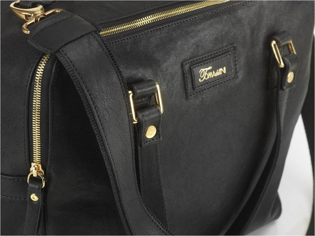 borsa in pell MARY nera manici