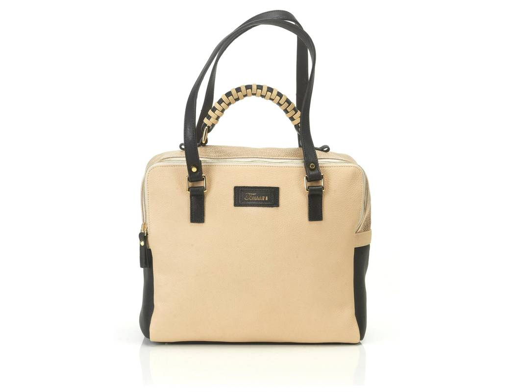 borsa in pelle MARY beige davanti