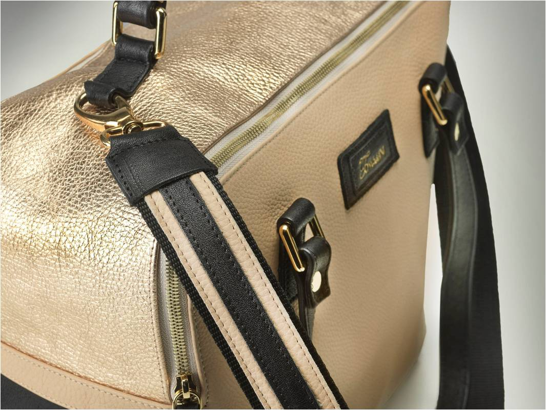 borsa in pelle MARY beige lato