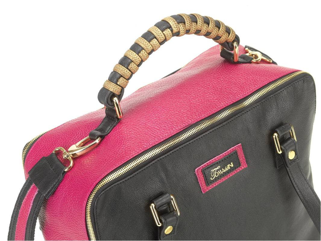 borsa in pelle MARY fuxia medium sopra