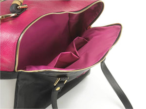 borsa in pelle MARY fuxia medium interno