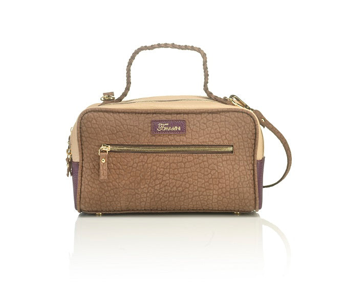 Borsa in pelle Michelle marrone frontale