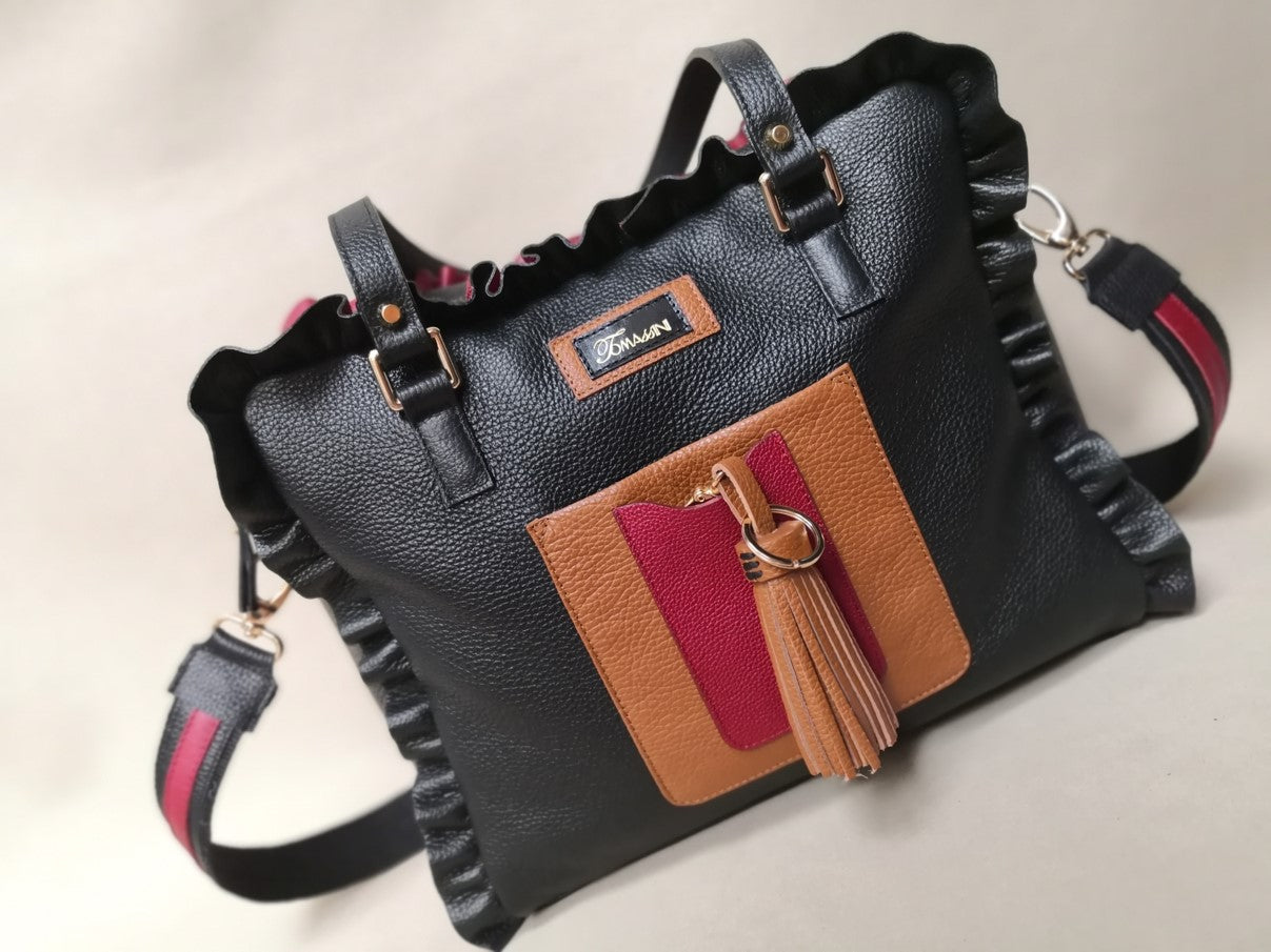 Borsa in pelle MARY con frappe rouge