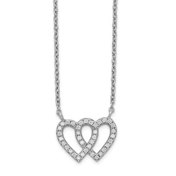 Sterling Silver CZ Two Heart Necklace