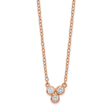 Rose Plated 3-CZ Necklace