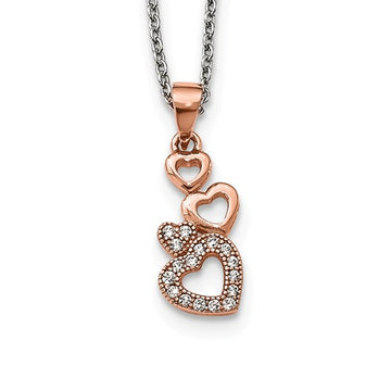 Rose Plated CZ Four Hearts Necklace