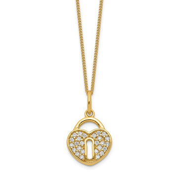 Gold Plated CZ Lock Heart Necklace