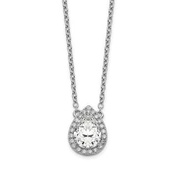 Sterling Silver CZ Halo Pear Necklace