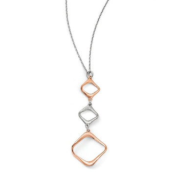 Sterling Silver/Rose 3 Box Necklace