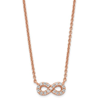 Rose Plated CZ Infinity Necklace