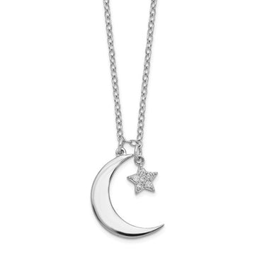 Sterling Silver CZ Star/Moon Necklace
